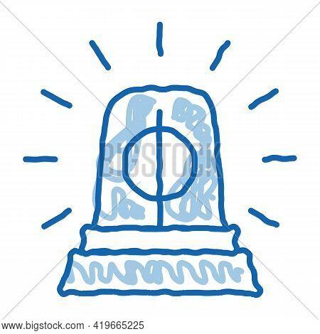 Police Squad Car Alarm Sketch Icon Vector. Hand Drawn Blue Doodle Line Art Police Squad Car Alarm Si