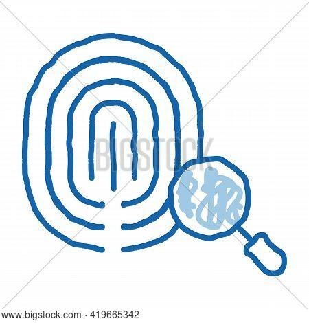 Dactylogram Fingerprint Sketch Icon Vector. Hand Drawn Blue Doodle Line Art Dactylogram Fingerprint