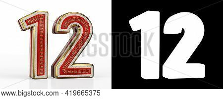 Number Twelve (number 12) With Red Transparent Stripe On White Background, With Alpha Channel. 3d Il