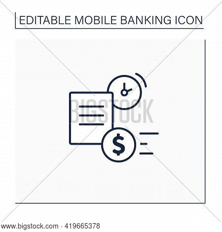 Loan Apply Line Icon. Used By Borrowers To Loan Application. Easy And Money, Interest Rate. Banking