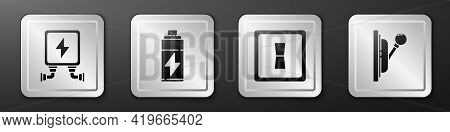 Set Electric Transformer, Battery, Electric Light Switch And Electrical Panel Icon. Silver Square Bu