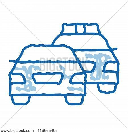 Police And Criminal Car Sketch Icon Vector. Hand Drawn Blue Doodle Line Art Police And Criminal Car