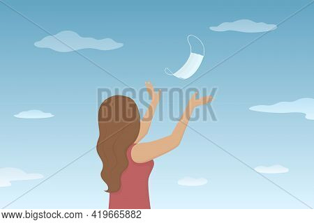 Caucasian Woman Toss Medical Mask In The Air. Lockdown Is Over. Vector Illustration.