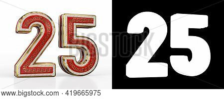 Number Twenty-five (number 25) With Red Transparent Stripe On White Background, With Alpha Channel.