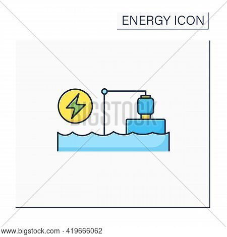 Pumped Storage Station Color Icon. Hydroelectric Energy Storage.water Reservoir. Electricity Concept