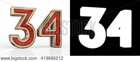 Number Thirty-four (number 34) With Red Transparent Stripe On White Background, With Alpha Channel.