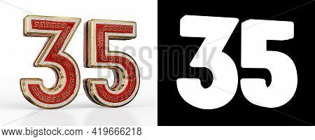 Number Thirty-five (number 35) With Red Transparent Stripe On White Background, With Alpha Channel.