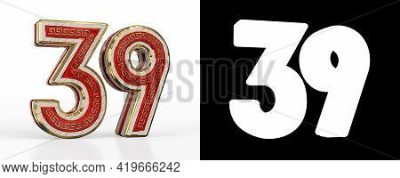 Number Thirty-nine (number 39) With Red Transparent Stripe On White Background, With Alpha Channel.