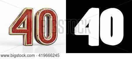 Number Forty (number 40) With Red Transparent Stripe On White Background, With Alpha Channel. 3d Ill