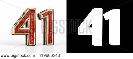 Number Forty-one (number 41) With Red Transparent Stripe On White Background, With Alpha Channel. 3d