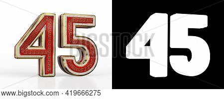 Number Forty-five (number 45) With Red Transparent Stripe On White Background, With Alpha Channel. 3