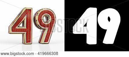 Number Forty-nine (number 49) With Red Transparent Stripe On White Background, With Alpha Channel. 3