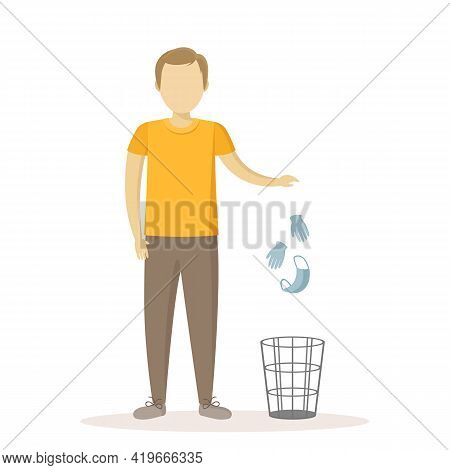 Caucasian Man Throw Medical Mask And Gloves In Wastebasket. Quarantine Ending. Vector Illustration.