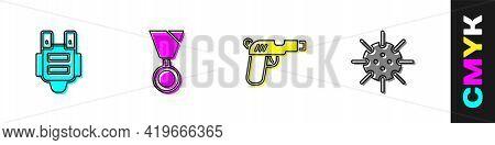 Set Bulletproof Vest, Military Reward Medal, Pistol Or Gun And Naval Mine Icon. Vector