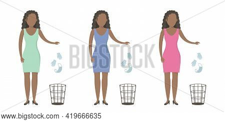 African Woman Throw Medical Mask And Gloves In Wastebasket. Quarantine Cancellation. Vector Illustra