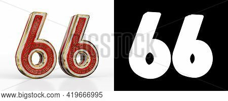 Number Sixty-six (number 66) With Red Transparent Stripe On White Background, With Alpha Channel. 3d