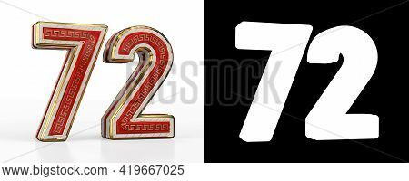 Number Seventy-two (number 72) With Red Transparent Stripe On White Background, With Alpha Channel.