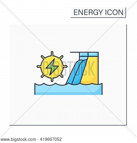 Hydroelectric Power Color Icon.harnesses Water Power. Waterfall Energy Generates Electricity. Electr