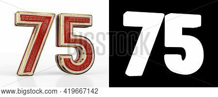 Number Seventy-five (number 75) With Red Transparent Stripe On White Background, With Alpha Channel.