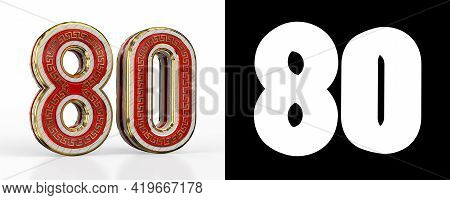 Number Eighty (number 80) With Red Transparent Stripe On White Background, With Alpha Channel. 3d Il
