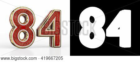 Number Eighty-four (number 84) With Red Transparent Stripe On White Background, With Alpha Channel.