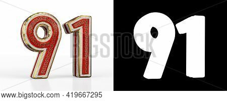 Number Ninety-one (number 91) With Red Transparent Stripe On White Background, With Alpha Channel. 3