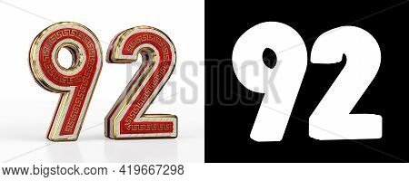 Number Ninety-two (number 92) With Red Transparent Stripe On White Background, With Alpha Channel. 3