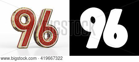 Number Ninety-six (number 96) With Red Transparent Stripe On White Background, With Alpha Channel. 3
