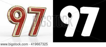 Number Ninety-seven (number 97) With Red Transparent Stripe On White Background, With Alpha Channel.