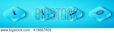 Set Isometric Hunting Gun, Sniper Rifle With Scope, Climber Rope And Tourist Tent Icon. Vector