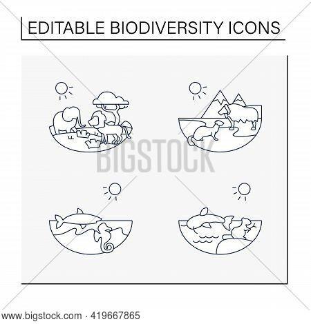 Biodiversity Line Icons Set. Consists Of Desert, Savana, Tundra, Freshwater, Marine Ecosystems. Biod