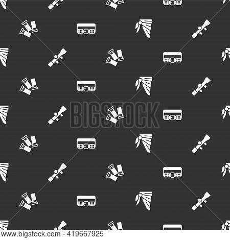 Set Bandana Or Biker Scarf, Sniper Optical Sight, Cartridges And Hunting Cartridge Belt On Seamless