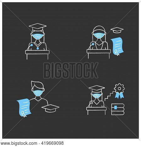 Graduation Chalk Icons Set. Professional Development. Academic Career, Undergraduate Student, Gradua