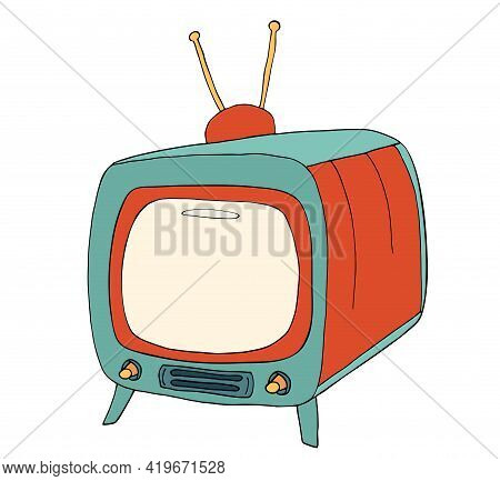 Blank Tv Display Illustration In Retro Vintage Style. Broadcasting Or Communication Concept. Old Iso