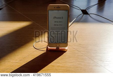 Paris, France - Sep 22, 2017: Front View At The Recently Launched Apple Computers Iphone Telephone W