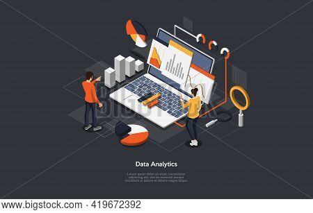 Illustration On Dark Background. Data Analytics, Info Checkup Concept. Isometric Vector Composition