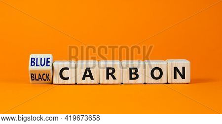 From Black To Blue Carbon Symbol. Turned The Cube And Changed Words 'black Carbon' To 'blue Carbon'.