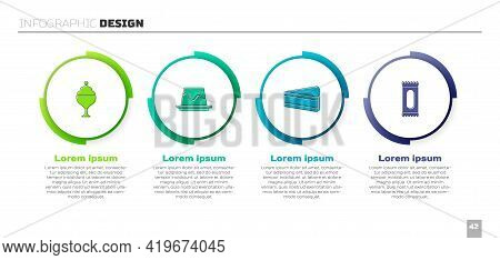 Set Ice Cream In Bowl, Pudding Custard, Piece Of Cake And Candy. Business Infographic Template. Vect