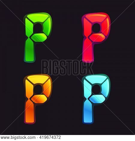 P Letter Logo In Alarm Clock Style. Digital Font In Four Color Schemes For Futuristic Company Identi