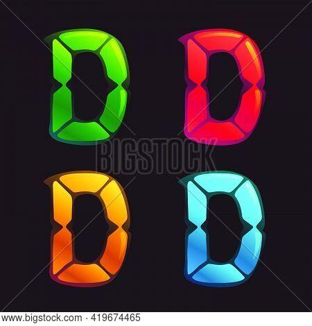 D Letter Logo In Alarm Clock Style. Digital Font In Four Color Schemes For Futuristic Company Identi