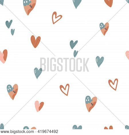 Abstract Seamless Pattern With Colorful Hearts, Bright Vector Illustration