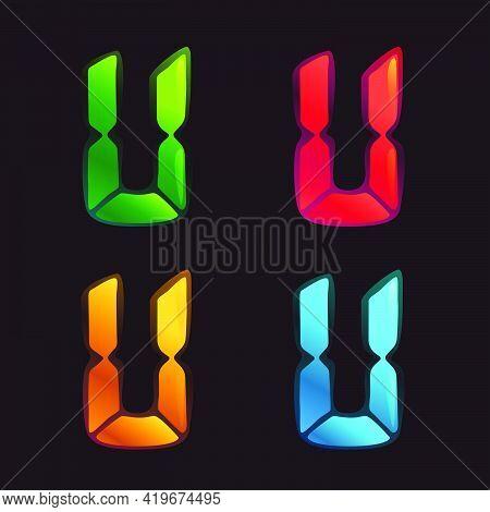 U Letter Logo In Alarm Clock Style. Digital Font In Four Color Schemes For Futuristic Company Identi
