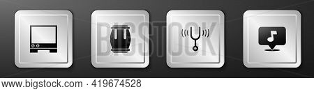 Set Voice Assistant, Drum, Musical Tuning Fork And Note, Tone Icon. Silver Square Button. Vector