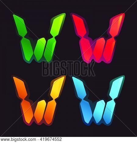 W Letter Logo In Alarm Clock Style. Digital Font In Four Color Schemes For Futuristic Company Identi