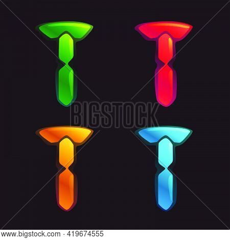 T Letter Logo In Alarm Clock Style. Digital Font In Four Color Schemes For Futuristic Company Identi