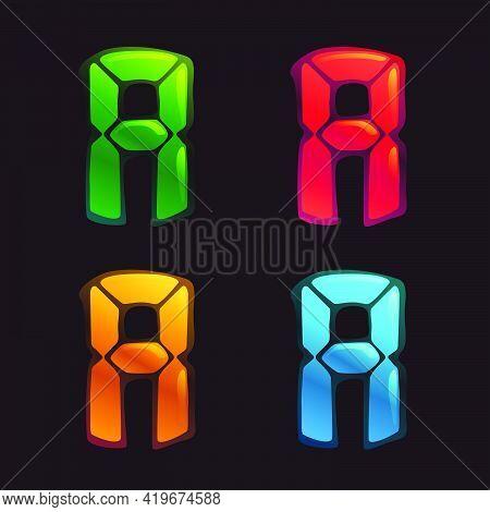 A Letter Logo In Alarm Clock Style. Digital Font In Four Color Schemes For Futuristic Company Identi