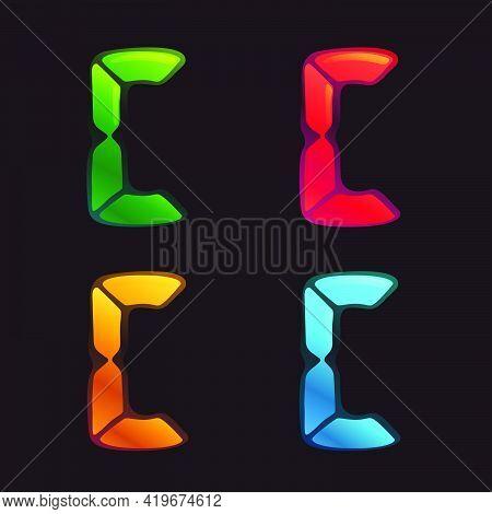 C Letter Logo In Alarm Clock Style. Digital Font In Four Color Schemes For Futuristic Company Identi