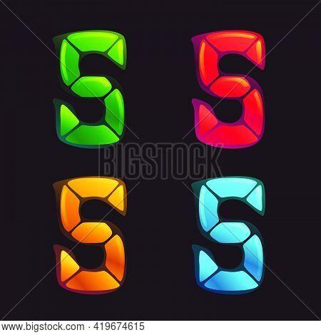 S Letter Logo In Alarm Clock Style. Digital Font In Four Color Schemes For Futuristic Company Identi