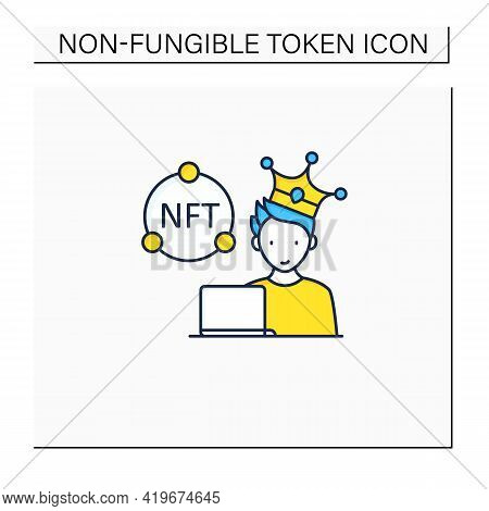 Nft Artist Color Icon. Content Creator. Crypto Artist. Creating More Nfts Works. Having Copyright. D