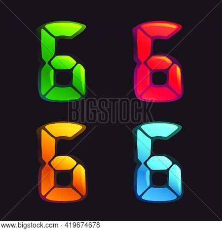 Number Six Logo In Alarm Clock Style. Digital Font In Four Color Schemes For Futuristic Company Iden